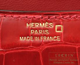 Hermes Constance mini Braise Alligator crocodile skin Gold hardware
