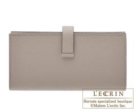 Hermes Bearn Soufflet Gris asphalt Epsom leather Rose gold hardware