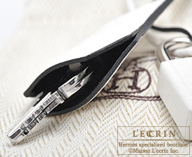 Hermes Birkin bag 30 White/Black Clemence leather Silver hardware