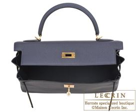 Hermes Kelly bag 32 Blue nuit Togo leather Gold hardware