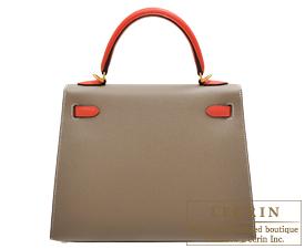 Hermes Personal Kelly bag 25 Etoupe grey/Rose jaipur Epsom leather Matt gold hardware