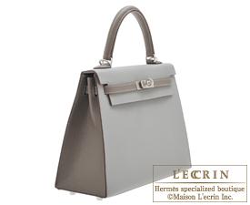 Hermes Personal Kelly bag 25 Gris mouette/Etain Epsom leather Matt silver hardware