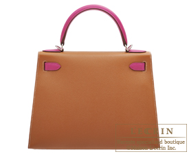 Hermes Personal Kelly bag 28 Gold/Rose purple Epsom leather Silver hardware