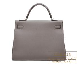 Hermes Kelly bag 32 Retourne Etain/Etain grey Togo leather Silver hardware