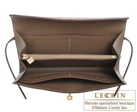 Hermes Kelly wallet long Etoupe grey Epsom leather Gold hardware