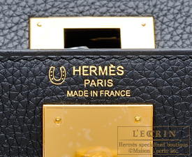 Hermes Kelly bag 28 Black/Craie Togo leather Gold hardware