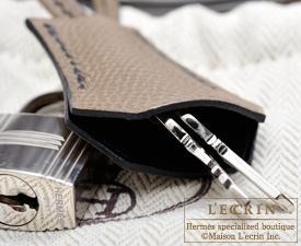 Hermes Personal Kelly bag 25 Black/Etoupe grey Epsom leather Silver hardware