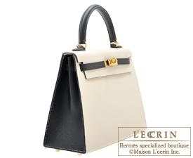 Hermes Personal Kelly bag 25 Craie/Black Epsom leather Gold hardware
