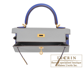 Hermes Personal Kelly bag 25 Gris mouette/Blue electric Epsom leather Matt gold hardware