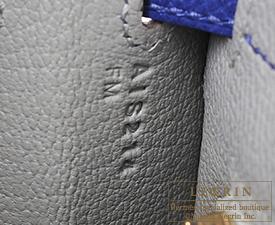 Hermes Personal Kelly bag 25 Gris mouette/Blue electric Epsom leather Matt gold hardware