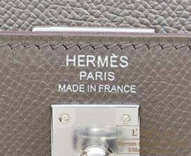 Hermes Kelly bag 25 Etain Epsom leather Silver hardware