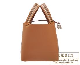Hermes Picotin Lock Tressage De Cuir bag PM Gold/Black/Craie Epsom leather Silver hardware