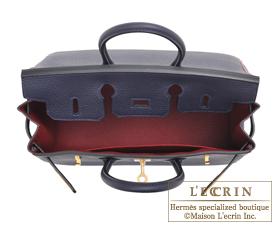 Hermes Birkin bag 25 Blue nuit/Rouge grenat Togo leather Matt gold hardware