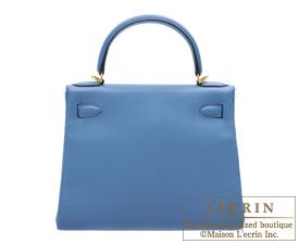 Hermes Kelly bag 28 Azur Togo leather Gold hardware