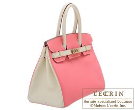 Hermes Birkin bag 30 Rose azalee/Craie Epsom leather Champagne gold hardware