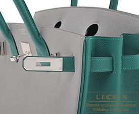 Hermes Birkin bag 30 Gris mouette/Malachite Epsom leather Silver hardware