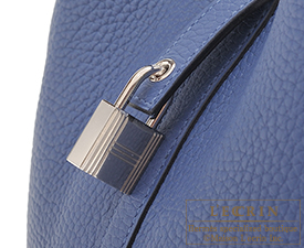 Hermes Picotin Lock bag MM Blue brighton Clemence leather Silver hardware