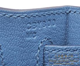 Hermes Kelly bag 28 Azur Togo leather Silver hardware