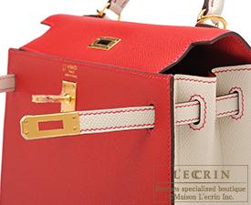 Hermes Personal Kelly bag 25 Rouge casaque/Craie Epsom leather Gold hardware