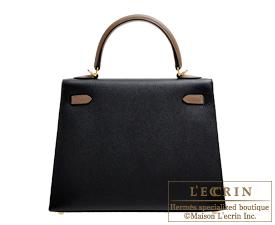 Hermes Personal Kelly bag 25 Black/Etoupe grey Epsom leather Gold hardware