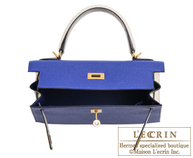 Hermes Personal Kelly bag 25 Blue electric/Craie Epsom leather Gold hardware