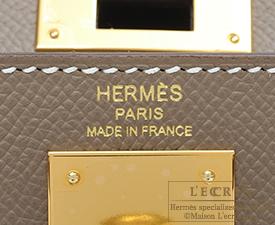 Hermes Kelly bag 28 Etoupe grey Epsom leather Gold hardware