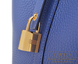 Hermes Picotin Lock bag PM Blue brighton Clemence leather Gold hardware