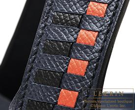 Hermes Picotin Lock Tressage De Cuir bag MM Blue indigo/Black/Terre battue Epsom leather Silver hardware