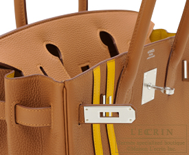 Hermes Birkin Officier 30 Gold/Jaune ambre Togo leather/Swift leather Silver hardware