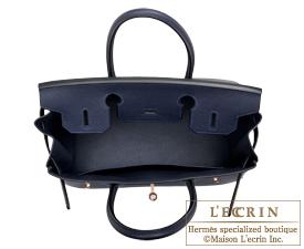 Hermes Birkin bag 30 Blue nuit Togo leather Rose gold hardware
