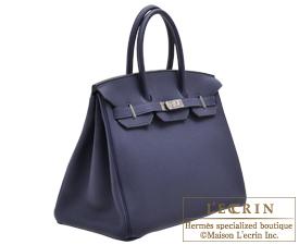 bd040427c0 ... Hermes Birkin bag 35 Blue encre Togo leather Silver hardware