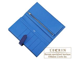 Hermes Bearn Soufflet Verso Blue encre/Blue zellige Epsom leather Silver hardware