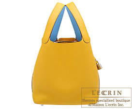 Hermes Picotin Lock Eclat bag MM Jaune ambre/Celeste Clemence leather/Swift leather Silver hardware