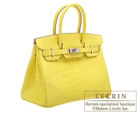 ... Hermes Birkin bag 30 Lime Matt alligator crocodile skin Silver hardware e032e88f23a20