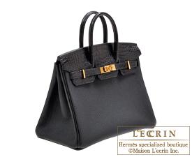 36df8eb82c ... Hermes Birkin Touch bag 25 Black Togo leather Matt alligator crocodile  skin Gold hardware