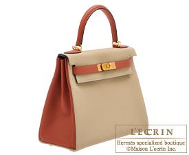 Hermes Kelly bag 28 Trench/Cuivre Togo leather Matt gold hardware