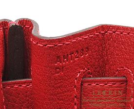 Hermes Kelly bag 32 Retourne Rouge casaque/Bright red Clemence leather Gold hardware