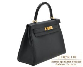 c2ef40a7cf ... Hermes Kelly bag 28 Black Togo leather Matt alligator crocodile skin  Gold hardware