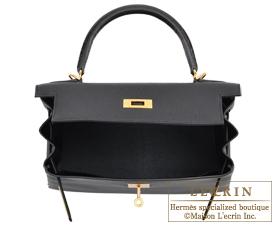 28ff2b6971 Hermes Kelly bag 28 Black Togo leather Matt alligator crocodile skin Gold  hardware ...
