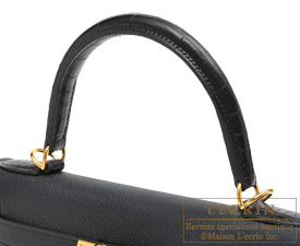 Hermes Kelly bag 28 Black Togo leather/Matt alligator crocodile skin Gold hardware