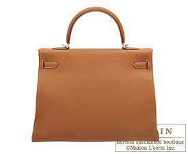 Hermes Kelly bag 35 Gold Togo leather Silver hardware
