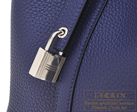 Hermes Picotin Lock bag PM Blue encre Clemence leather Silver hardware