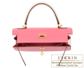 Hermes Personal Kelly bag 25 Rose azalee/Craie Epsom leather Gold hardware