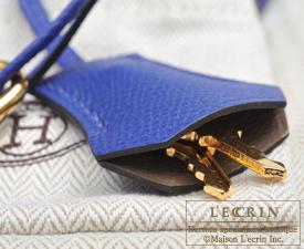 Hermes Personal Kelly bag 32 Etoupe grey/Blue electric Epsom leather Gold hardware
