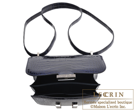 Hermes Constance mini Blue marine/Ombre Alligator crocodile skin/Lizard skin Silver hardware
