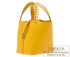 Hermes Picotin Lock Tressage De Cuir bag PM Jaune ambre/Brique/White Epsom leather Silver hardware