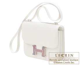 Hermes Constance Optique mini White Evercolor leather Silver hardware