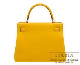 Hermes Kelly bag 28 Jaune ambre Togo leather Silver hardware
