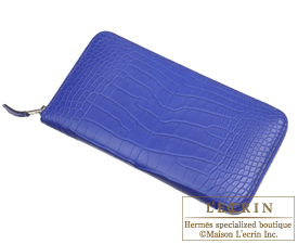 Hermes Azap long Blue electric Matt alligator crocodile skin  Silver hardware