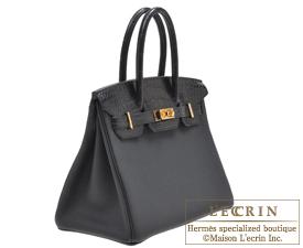 f12c407b16 ... Hermes Birkin Touch bag 30 Black Togo leather Matt alligator crocodile  skin Gold hardware